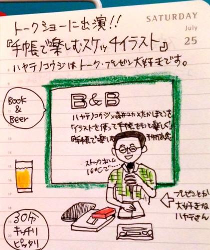 下北沢B&Bで開催された「手帳で楽しむスケッチイラスト」トークショーに登壇(2015/07/25)。ストックホルム旅行記についてトークしました。